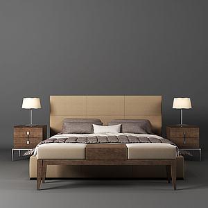 現代雙人床3d模型