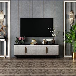 现代简约电视柜模型3d模型