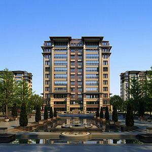 现代住宅小区模型3d模型