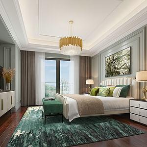 3d简欧卧室模型