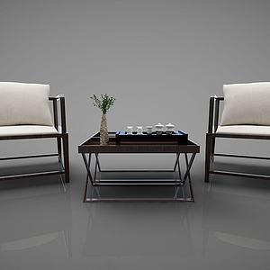 新中式风格沙发茶几组合模型3d模型