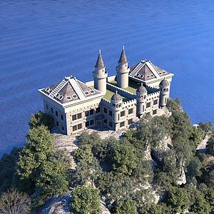 3d鳥瞰城堡模型