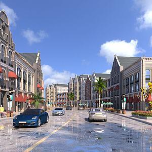 欧式商业街3d模型