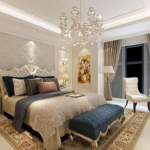 3d现代欧式卧室模型