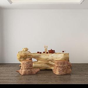 中式根雕茶几模型3d模型