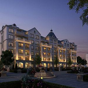 歐式酒店模型3d模型
