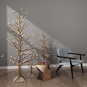 3d现代树灯模型