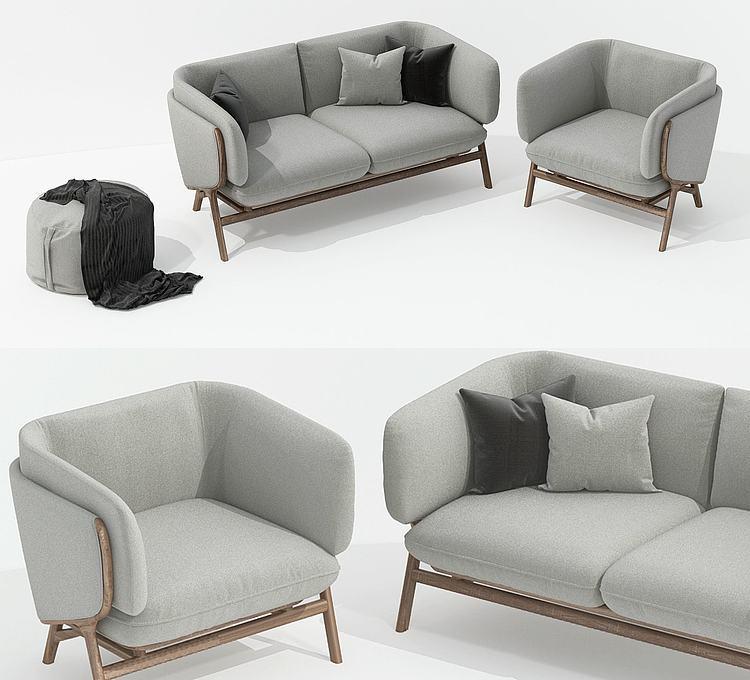 北欧风灰色布艺沙发组合