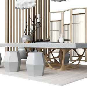 3d中式茶几模型