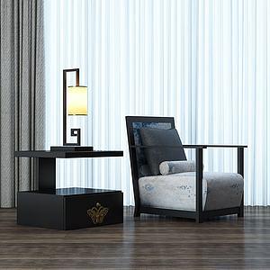 中式单椅床头柜组合模型3d模型