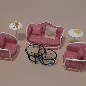 3d简欧沙发组合模型