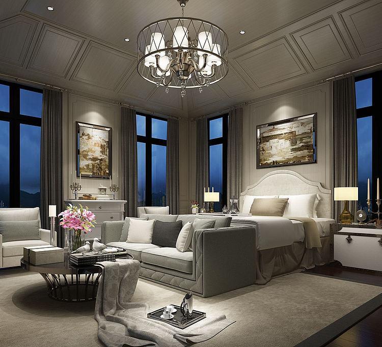 现代别墅卧室模型