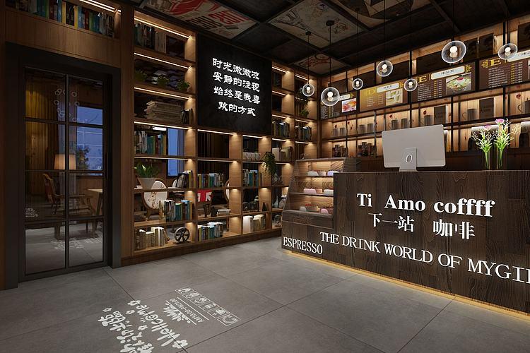 现代工业咖啡奶茶厅模型