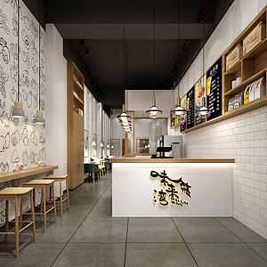 奶茶店咖啡店飲料店模型3d模型