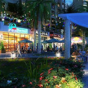 商业街步行街模型3d模型