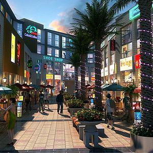 商业街步行街美食街模型3d模型