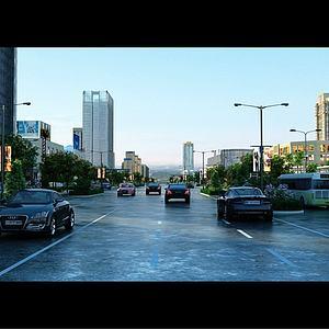 现代商业街模型3d模型