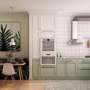 现代北欧厨房餐厅模型3d模型