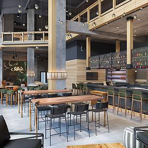工业风休闲餐厅模型3d模型