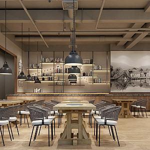工业风烤肉店模型3d模型