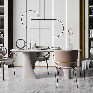 3d后現代餐廳模型