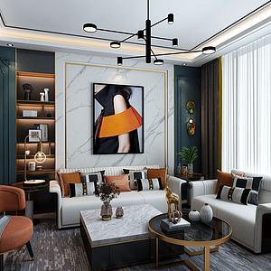 輕奢客廳3d模型