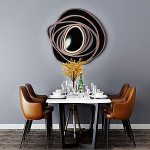 3d餐桌椅組合模型