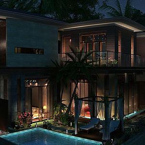 新中式别墅模型3d模型