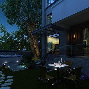 别墅庭院模型3d模型
