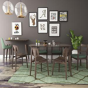 北欧餐桌椅组合模型3d模型