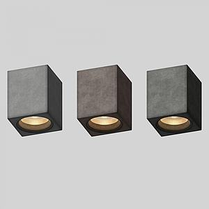 3d簡約射燈組合模型