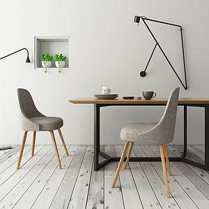 北欧简约餐桌椅模型3d模型