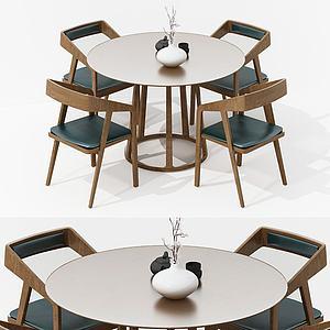 现代北欧餐桌椅组合模型3d模型