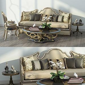 美式沙发茶几组合模型3d模型