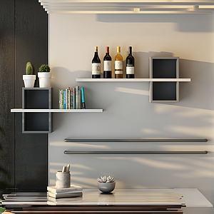 现代小清新墙架模型3d模型