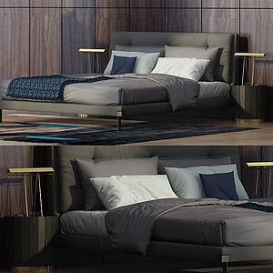 現代雙人床模型3d模型