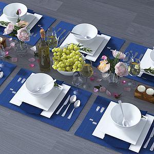 现代餐具模型