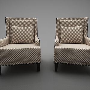新中式风格单人沙发模型3d模型