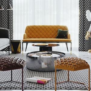 3d現代輕奢客廳模型