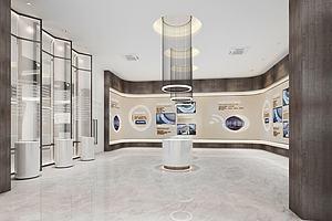 现代展厅模型模型