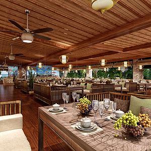 東南亞風自助餐廳模型3d模型
