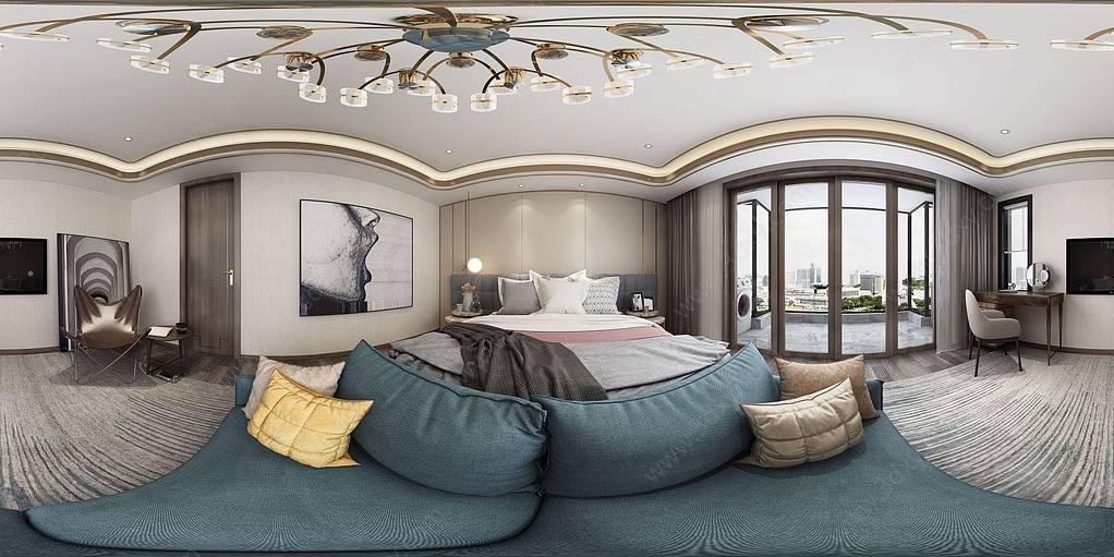 新中式轻奢卧室全景