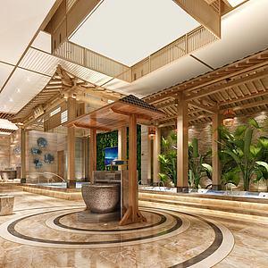 3d新中式洗浴中心模型