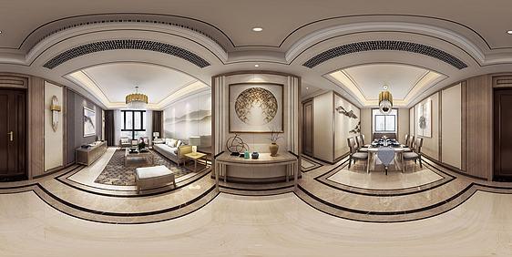 3d新中式客餐厅全景模型