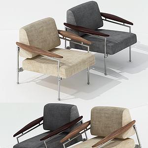 美式單人休閑沙發3d模型