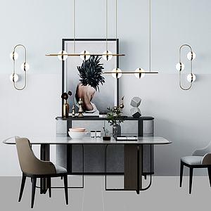 北欧餐桌椅模型3d模型