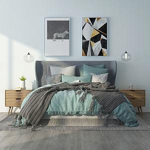 北歐舒適雙人床3d模型