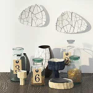 現代簡約玻璃瓶擺件3d模型