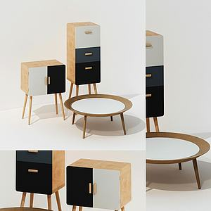 現代邊柜小茶幾組合3d模型