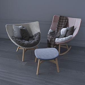 現代單人休閑椅搖椅3d模型